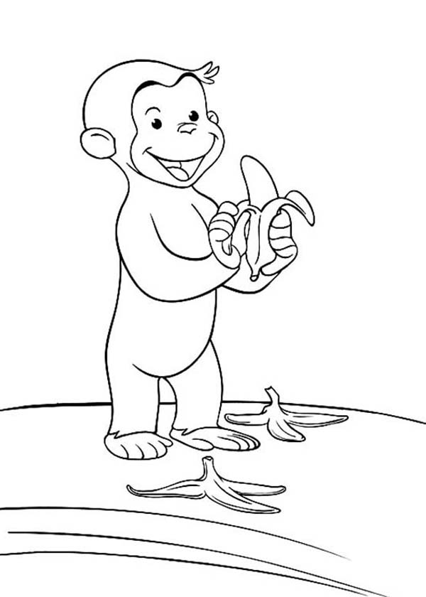 600x840 Curious George Littering The Way With Banana Peel Coloring Page