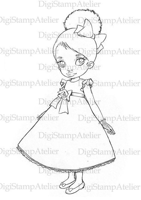 495x700 Little Black Girl. Instant Download Digital By Digistampatelier