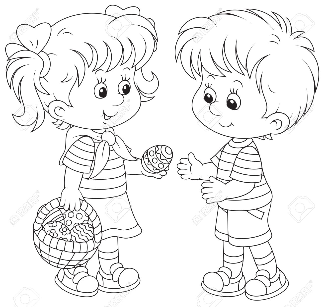 1300x1234 Little Girl And Boy On Easter Day Royalty Free Cliparts, Vectors