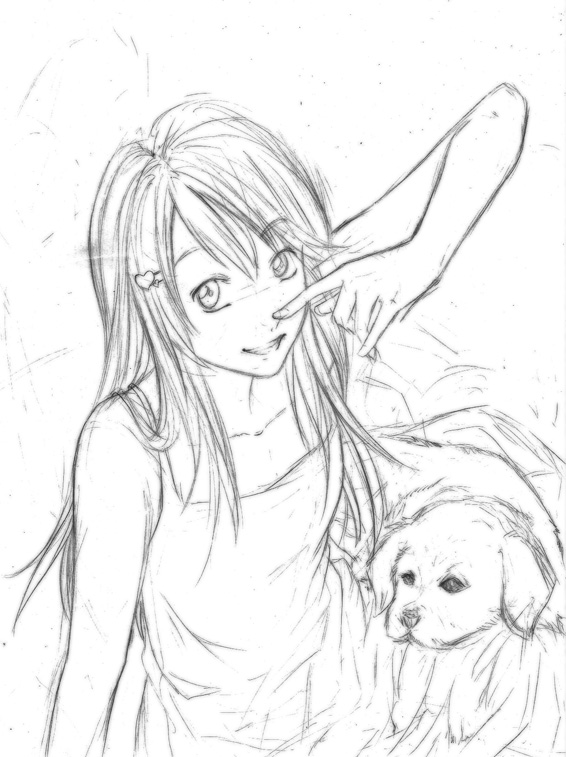 566x757 Little Girl And Her Puppy By Kumihan
