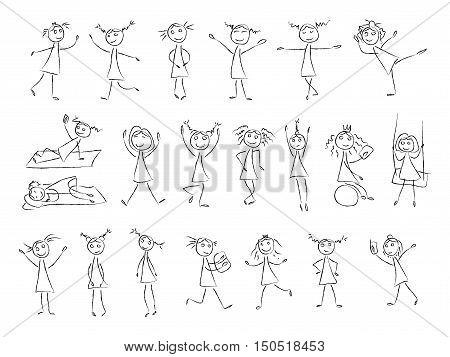 450x357 Sketch Drawing Little Girls Vector Amp Photo Bigstock