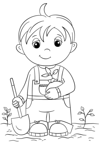 333x480 Cute Little Boy Holding Seedling Coloring Page Free Printable