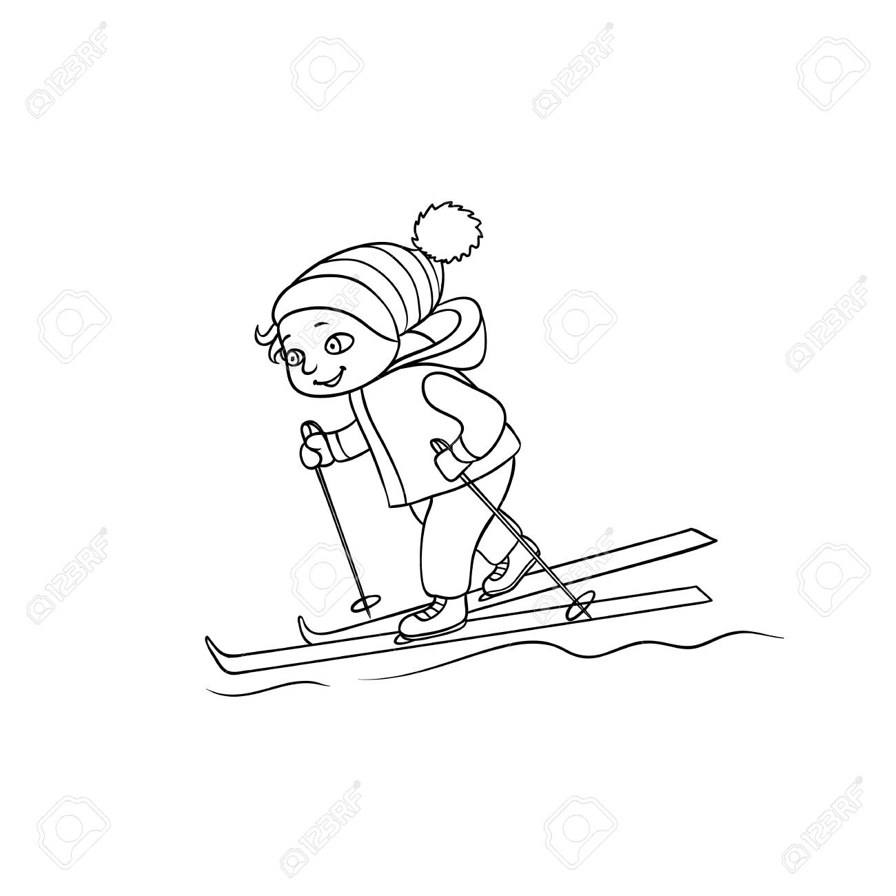 1300x1300 Happy Little Boy Skiing, Winter Sport Activity, Black And White