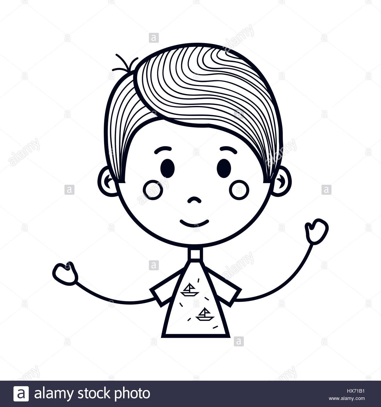 1300x1390 Little Boy Cartoon Drawing Cute Little Boy Drawing Icon Stock