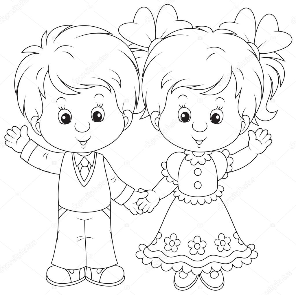 1023x1018 Little Boy And Girl Waving Stock Vector Alexbannykh