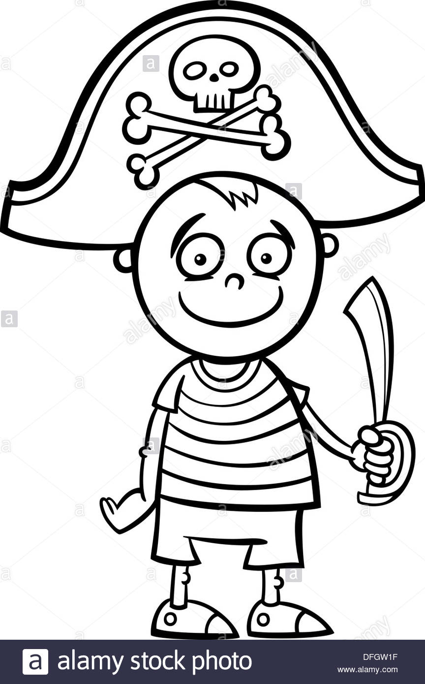 864x1390 Black And White Cartoon Illustration Of Cute Little Boy In Pirate