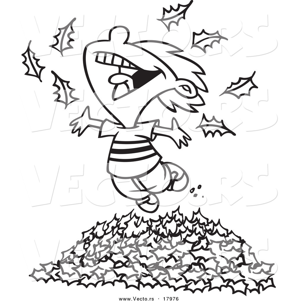 1024x1044 Vector Of A Cartoon Little Boy Playing In Leaves