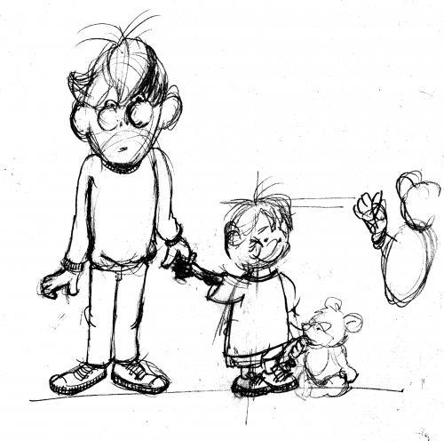 500x496 Sketch Father Little Boy By Neudecker Media Amp Culture Cartoon