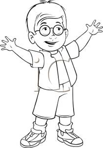 210x300 Black And White Cartoon Of A Cute Little Boy With Glasses Reaching
