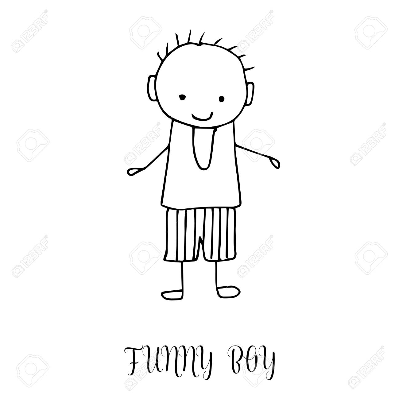 1300x1300 Funny Little Boy. Hand Drawing In Cute Kids Style. Design Element
