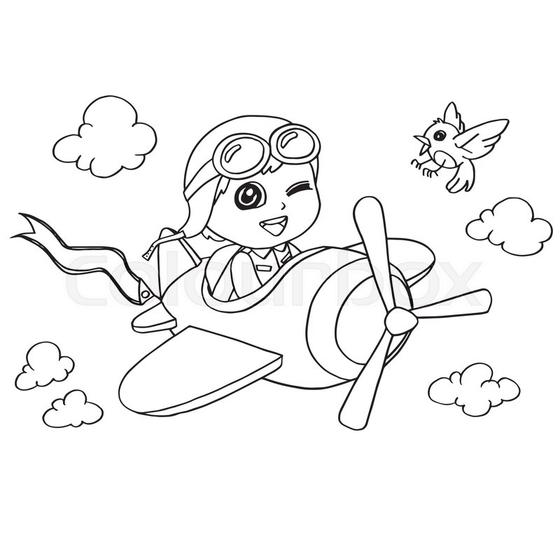 800x800 Image Of Little Boy Flying In A Toy Plane Coloring Page Vector