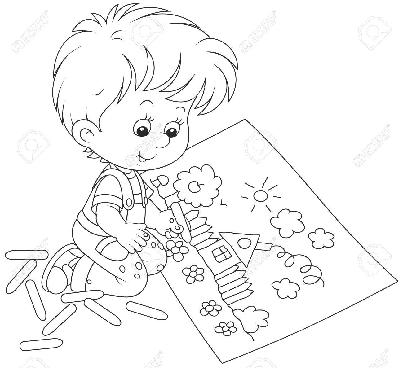 1300x1188 Little Boy Drawing With Chalk A Funny Picture Royalty Free