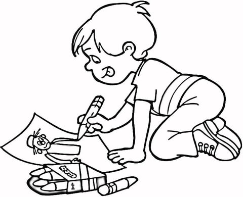 480x390 Little Boy Drawing A Masterpiece Coloring Page Free Printable