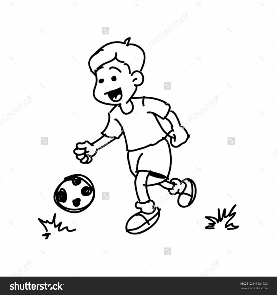 960x1024 Little Boy Playing Football Drawing
