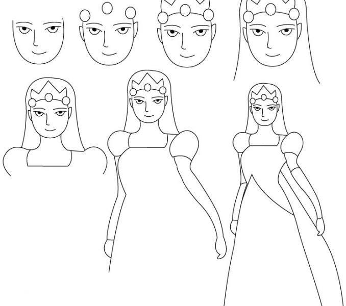 678x600 Simple Princess Drawing How To Draw A Princess Youtube Little Boy