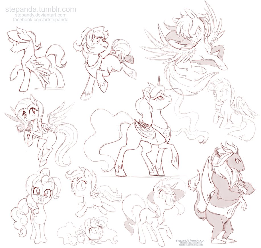 917x870 My Little Pony Free Sketches 4 By Stepandy