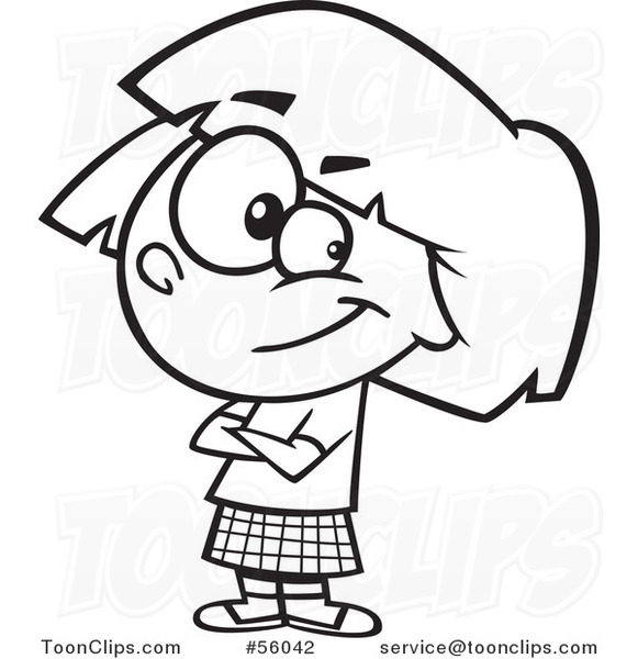 581x600 Black And White Cartoon Confident Little Girl With Folded Arms