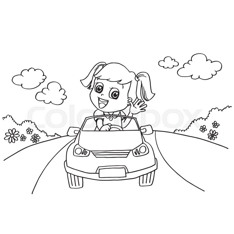 800x800 Image Of Little Girl Driving A Toy Car Coloring Page Vector