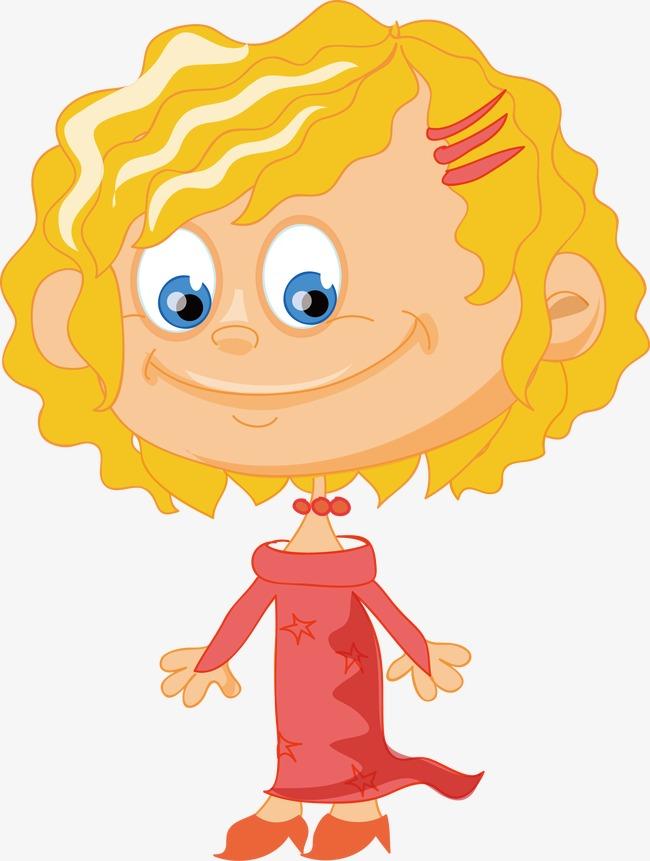 650x861 Vector Little Girl With Curly Hair, Cartoon Characters, Cartoon