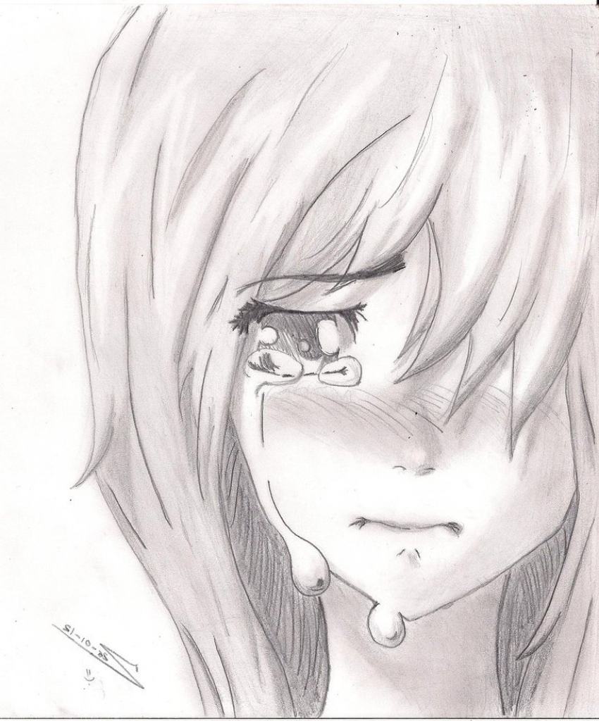 850x1024 Drawing Of Crying Alone Girl Alone Girl Sketch For Drawing Simple