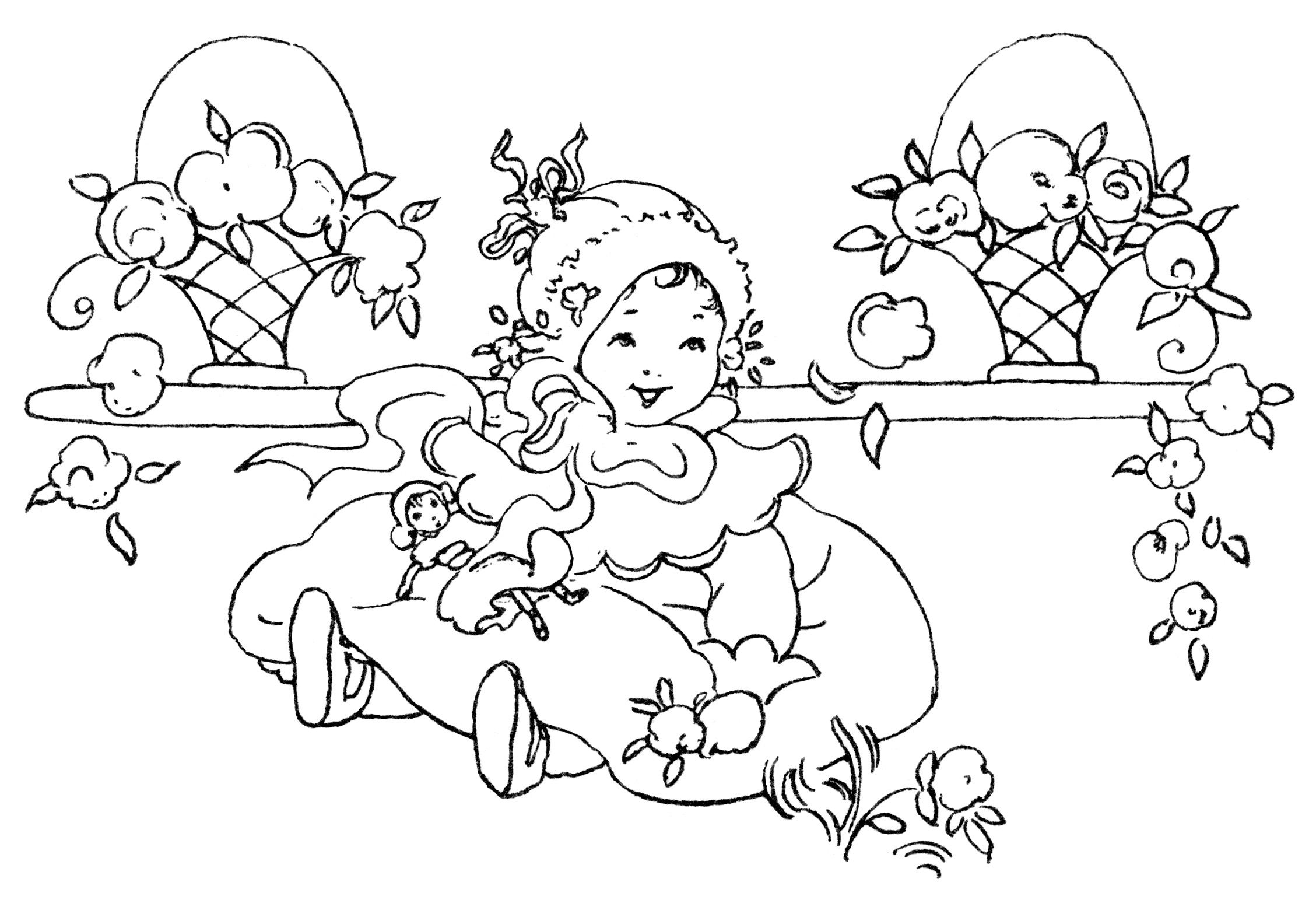2257x1548 Vintage Little Girl Character Face Clipart Black And White