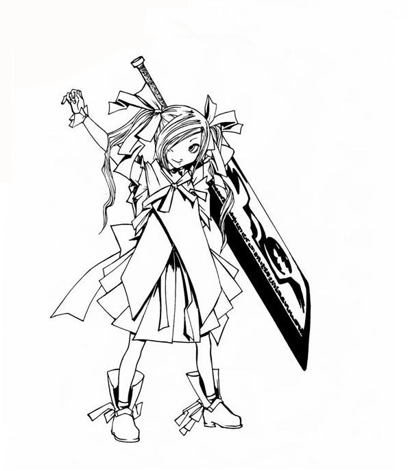 595x687 Little Girl With Big Sword By Buta0309