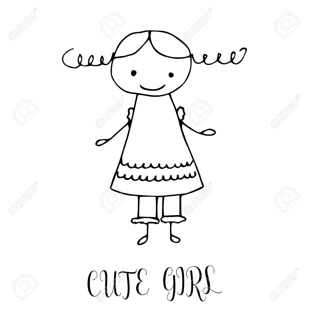 1300x1300 Cute Little Girl. Hand Drawing In Funny Kids Style. Design Element