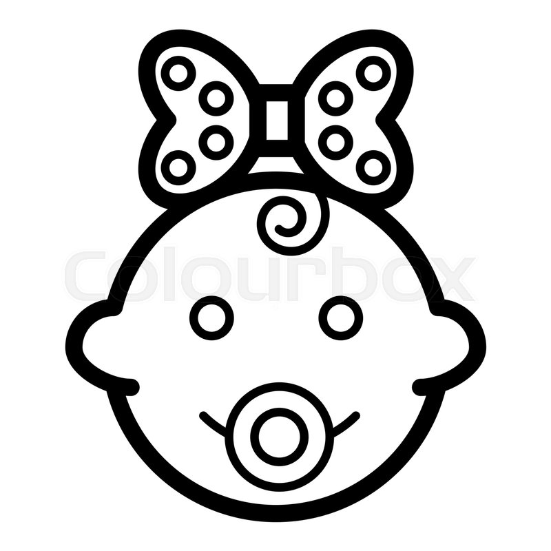 800x800 Baby Girl Vector Icon. Black And White Funny Baby Girl Face