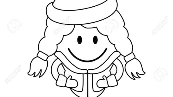 570x320 Simple Drawing Of Little Girl Cute Little Girl In Winter Clothes