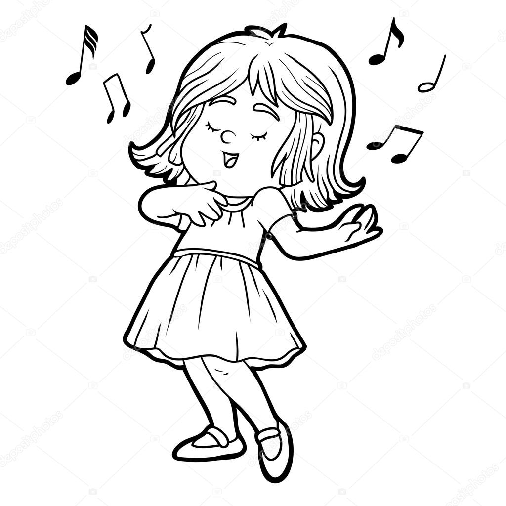 1024x1024 Coloring Book Little Girl In A Red Dress Is Singing A Song