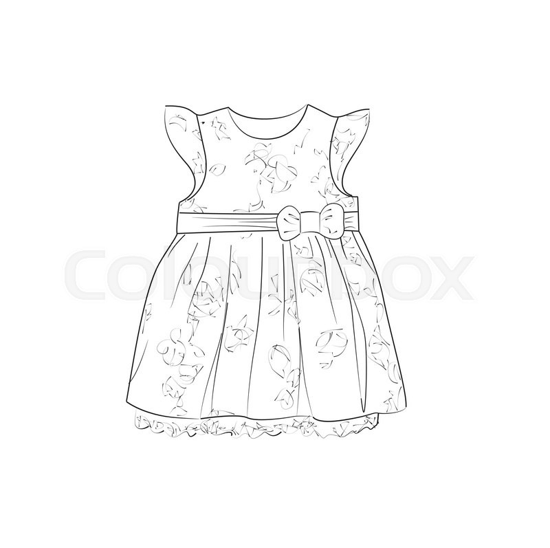 800x797 Hand Drawn Illustration With Dress For Little Girls. Stock