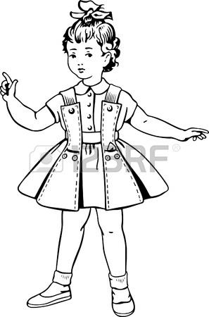 297x450 Little Girl Wearing Warm Dress Socks Shoes Royalty Free Cliparts