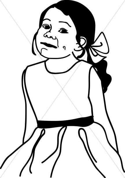 432x612 Little Girl In Dress Christian Children Clipart