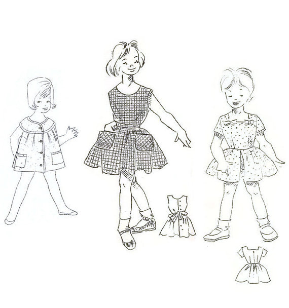 570x608 Lot Of 3 1950s Little Girls Dress Sewing Patterns By Willynillyart