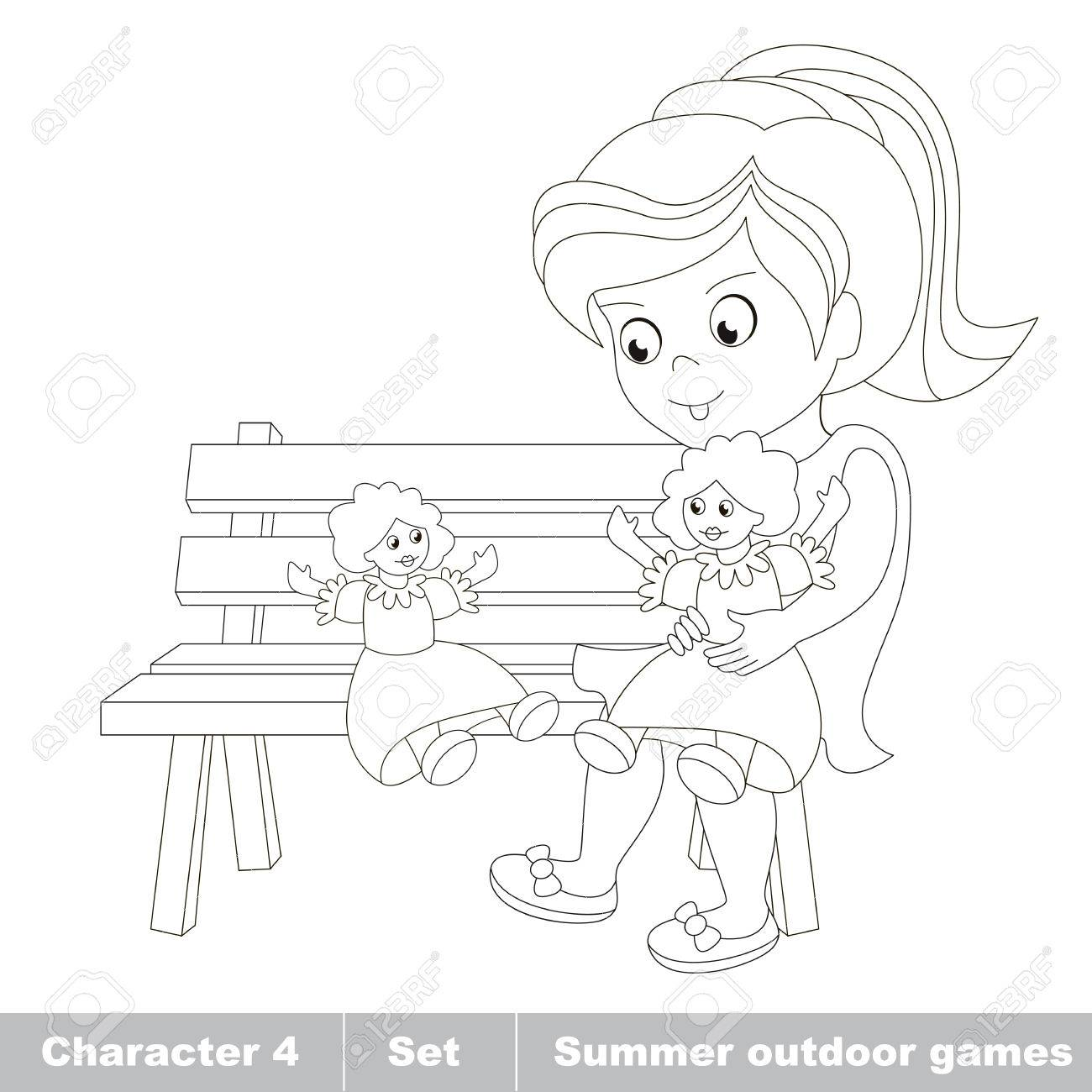 1300x1300 Page To Be Color. One Little Girl In Blue Dress Play With Her Toy