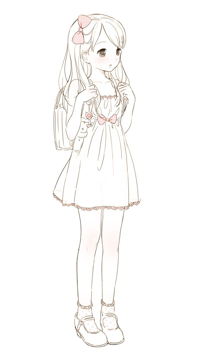 700x1178 Simple Full Body Dress Girl Drawing Picture Best Little Girl
