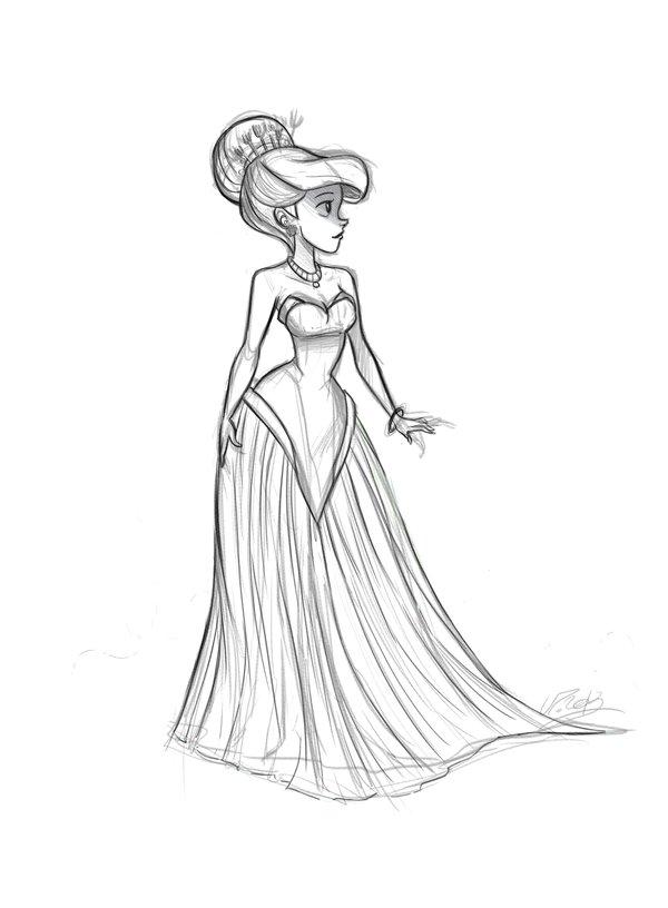 600x816 Ariel Fashion Dress Sketch By Vpdessin