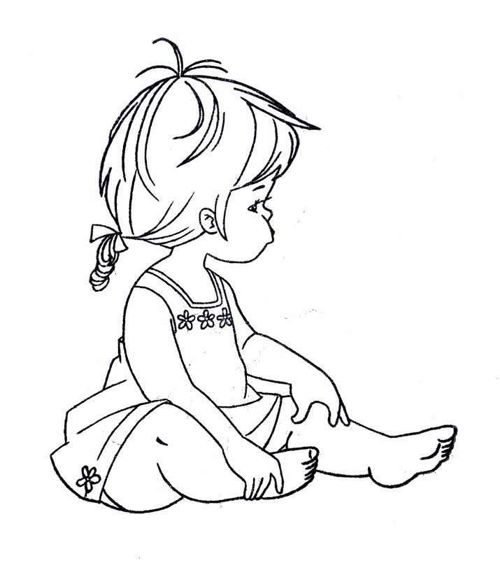Little Girl Line Drawing
