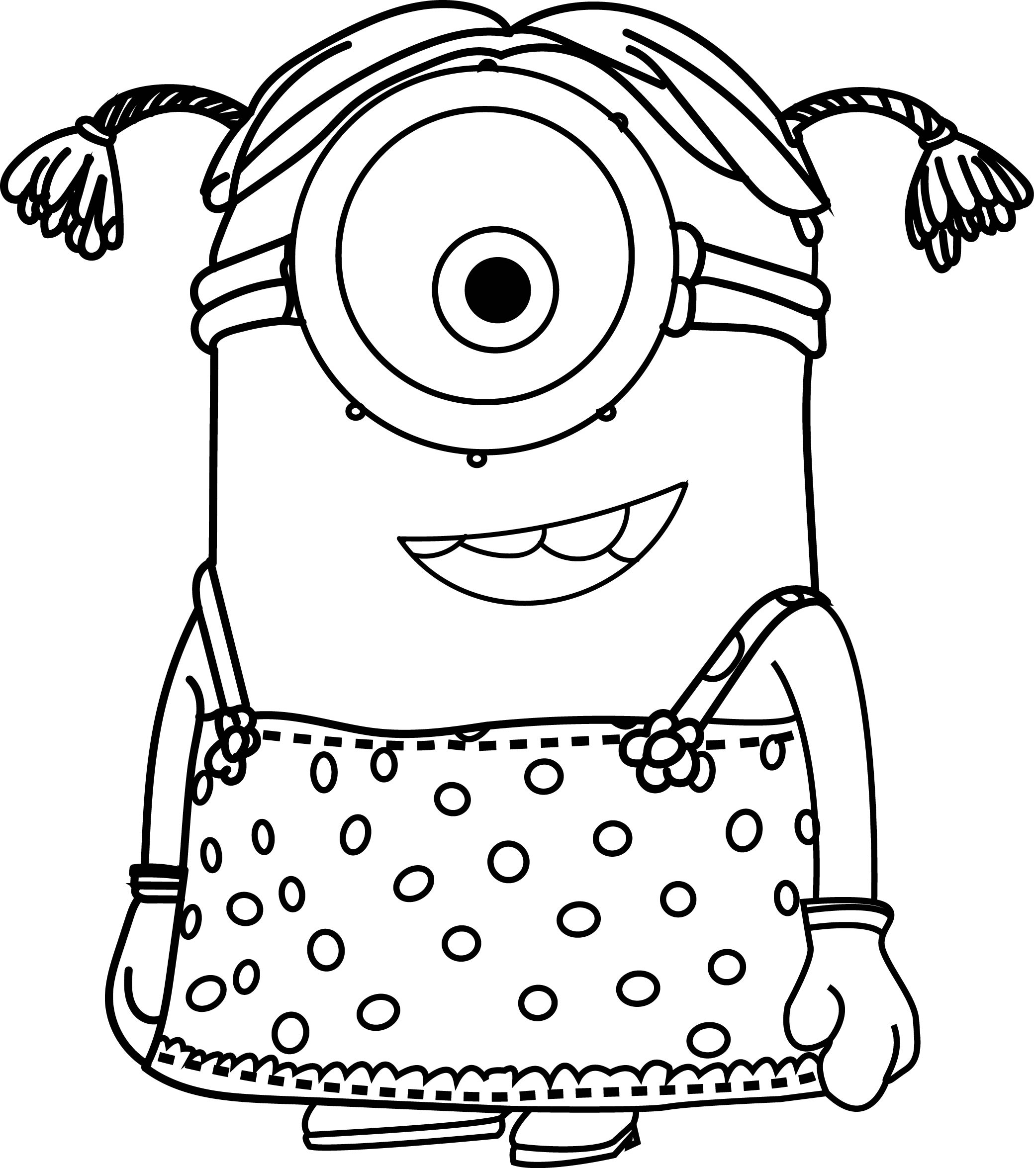 2079x2349 Cartoons Minions Little Girl Coloring Page Wecoloringpage