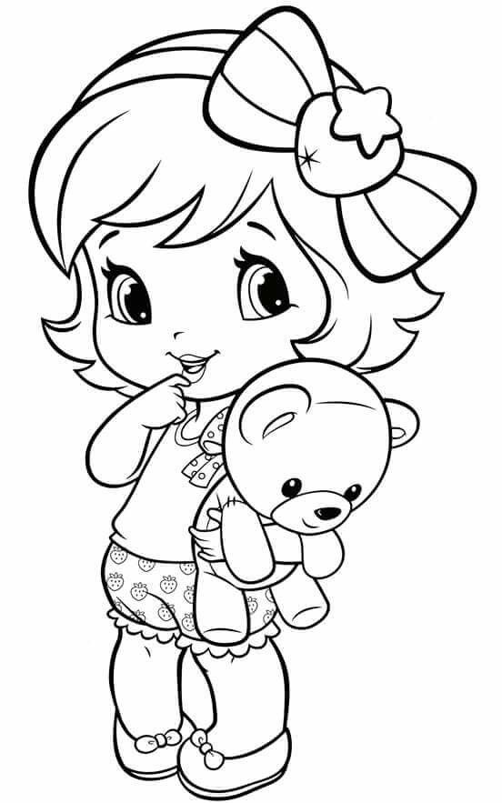 552x883 Charming Little Girl Coloring Pages 44 With Additional Free