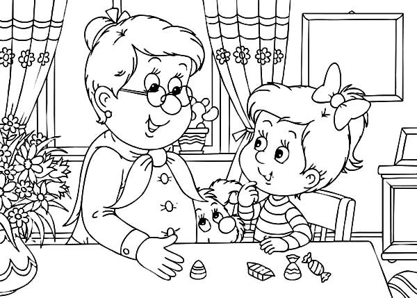 600x429 Little Girl Met Her Grandmother Coloring Pages Color Luna