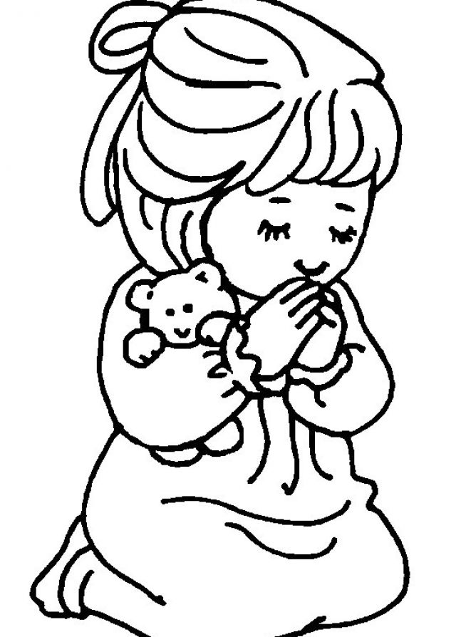 640x894 Free Coloring Page For Praying Little Girl Little Girl Praying
