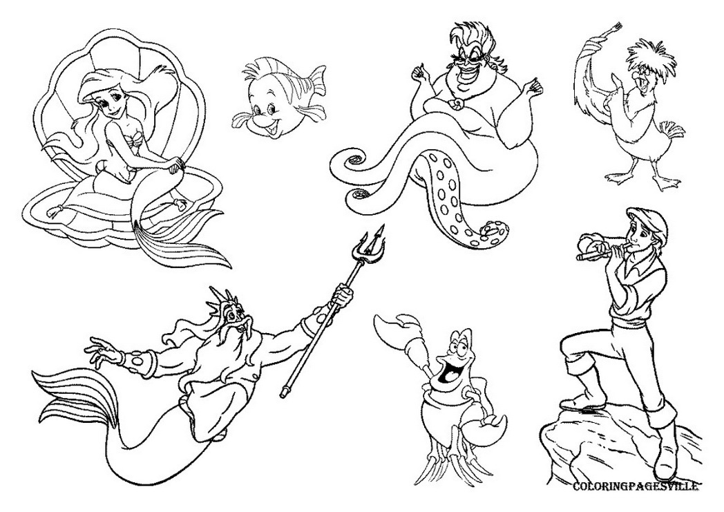1048x741 Little Mermaid Coloring Pages Ursula Dot Peeps 537701 Coloring