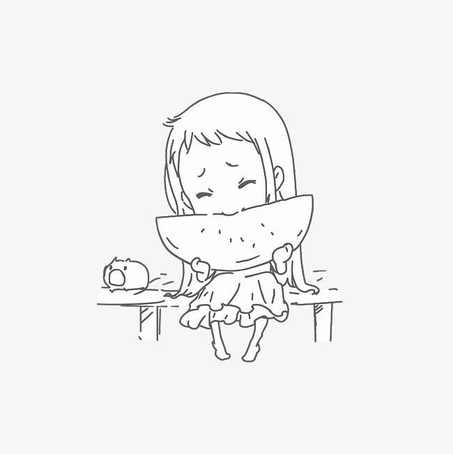650x651 A Little Girl Who Eats Watermelon Happily, Simple Facial