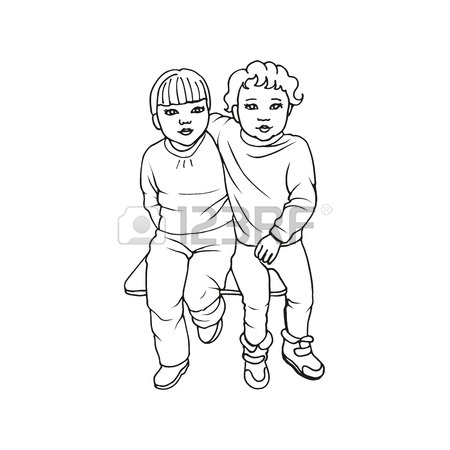 450x450 Vector Illustration Of Two Cute Little Girls Sitting On A Bench