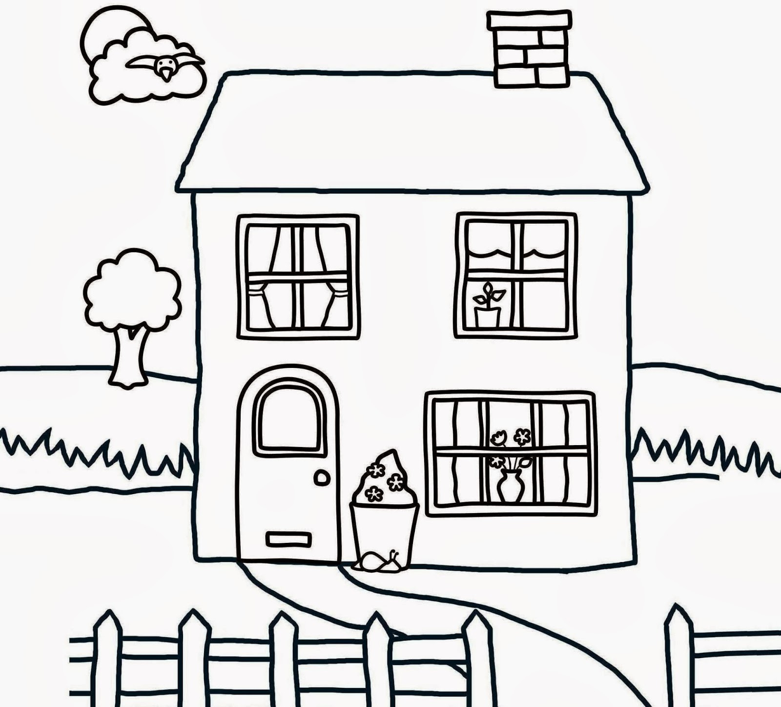 1600x1447 House Drawing For Colouring Modern House