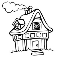 200x200 Little House Coloring Page