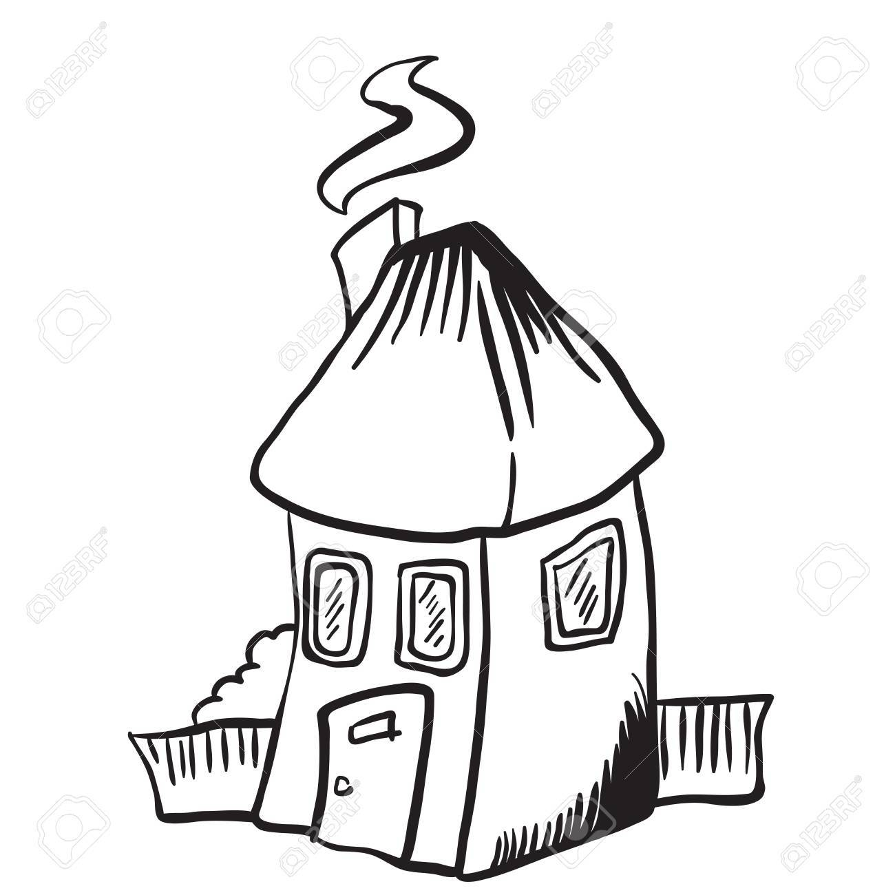1300x1300 Simple Black And White Little House Isolated Cartoon Royalty Free