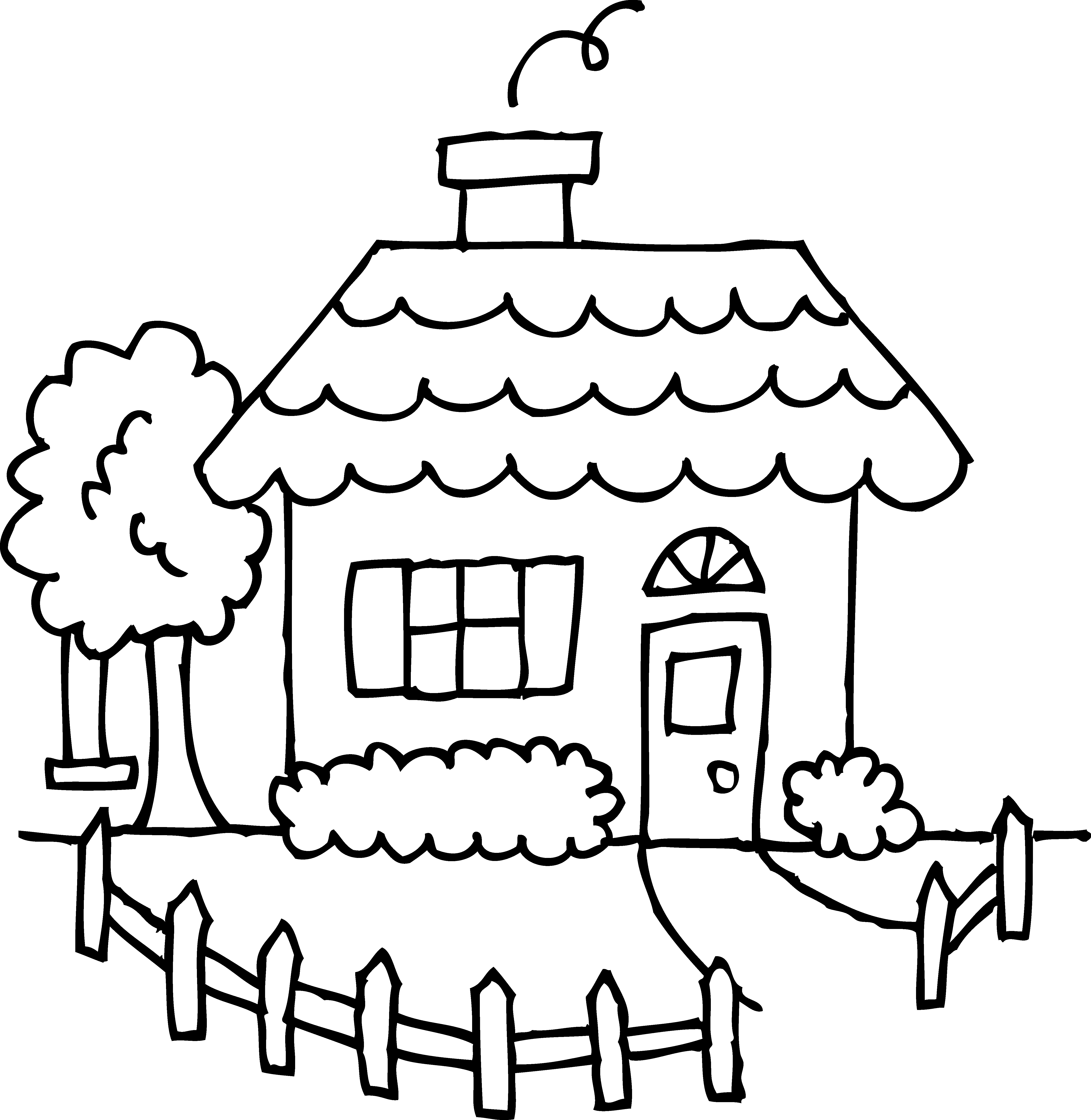 5375x5517 Cute Cozy House Coloring Page