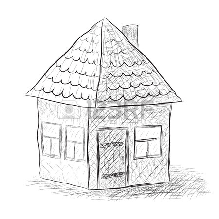 450x450 Cute Little House Sketch Vector Illustration Royalty Free Cliparts